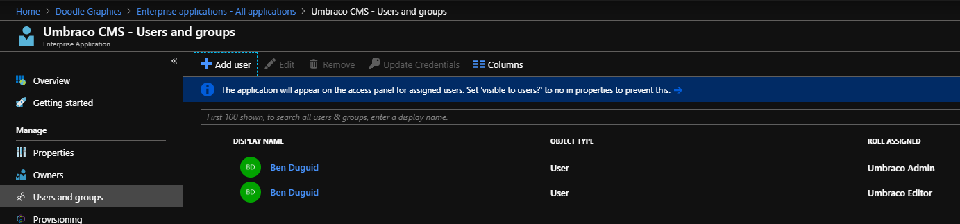 Add user to multiple roles