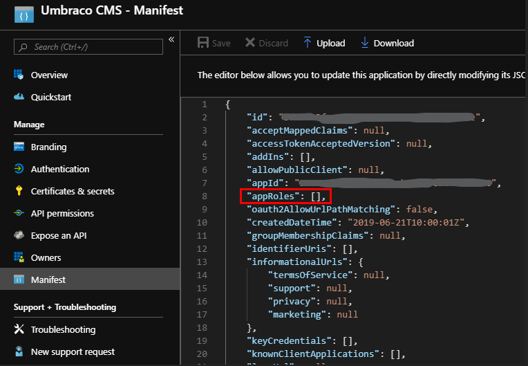 App roles in the manifest