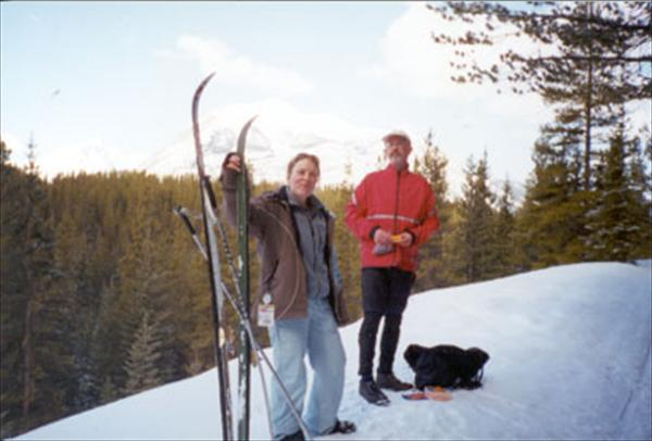 Caroline and Andy cross-country skiing